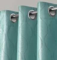 GEOMETRIC WAVE EMBOSSED LIVINGROOM BEDROOM THERMAL BLACKOUT RING TOP CURTAINS DUCK EGG